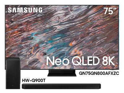 "Samsung 75"" QN75QN800AFXZC 8K Flat Neo QLED LCD TV And  7.1.2 Channel Soundbar HW-Q900T/ZC"