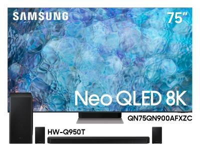 "Samsung 75"" QN75QN900AFXZC Neo QLED 8K Smart TV And  9.1.4 Channel Soundbar HW-Q950T/ZC"