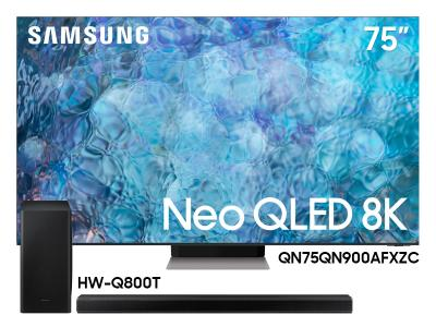 "Samsung 75"" QN75QN900AFXZC Neo QLED 8K Smart TV And  3.1.2 Channel Soundbar HW-Q800T/ZC"