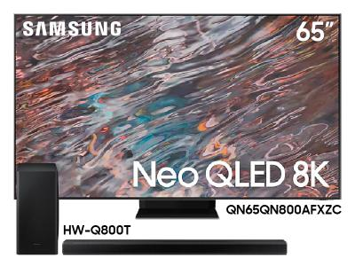 "Samsung 65"" QN65QN800AFXZC Neo QLED 8K Smart TV And 3.1.2 Channel Soundbar HW-Q800T/ZC"