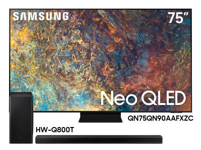 "Samsung 75"" QN75QN90AAFXZC Neo 4K Smart QLED TV And 3.1.2 Channel Soundbar HW-Q800T/ZC"