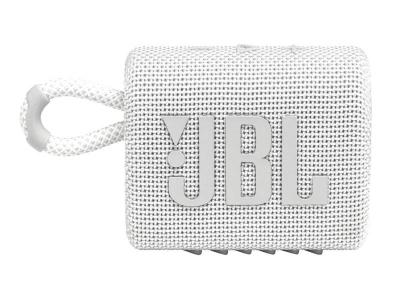 JBL Go 3 Waterproof Portable Bluetooth Speaker in White - JBLGO3WHTAM
