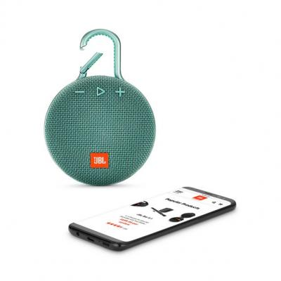 JBL A full-featured waterproof portable Bluetooth speaker with surprisingly powerful sound.-JBLCLIP3TEAL