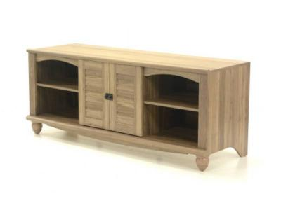 Sauder Harbor View Collection Entertainment Credenza TV Stand In Salt Oak Finish - 415055