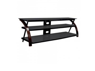 Sonora Curved Wood And Glass Tv Stand Dark Brown -  S85V65B